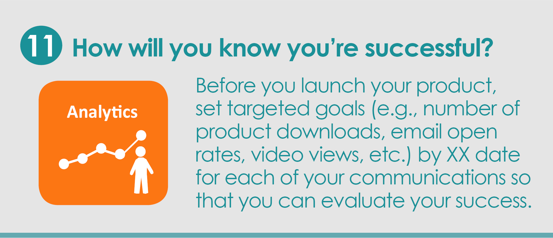 Step 11: How will you know you're successful? Before you launch your product, set targeted goals (e.g., number of product downloads, email open rates, video views, etc.) by XX date for each of your communications so that you can evaluate your success.