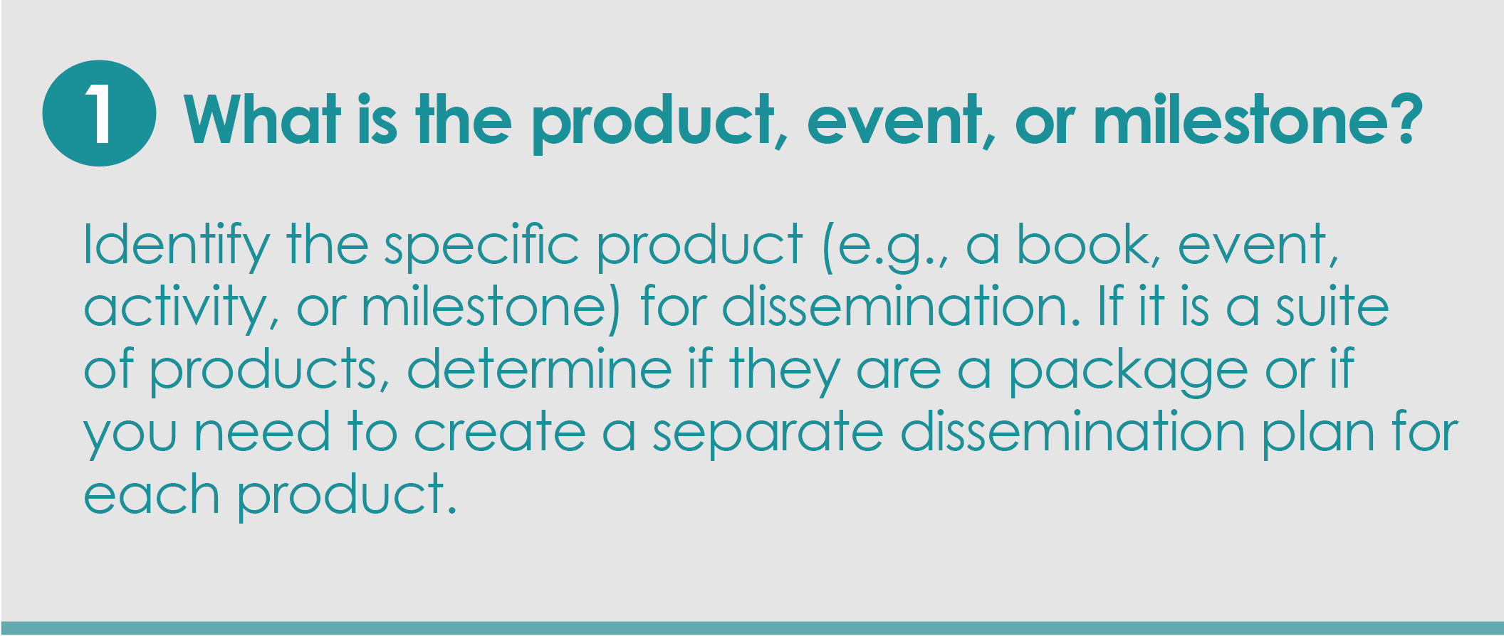 Step 1: What is the product, event, or milestone? Identify the specific product (e.g., a book, event, activity, or milestone) you are focusing on. If it is a suite of products, determine if they are a package or if you need to create a separate dissemination plan for each product.