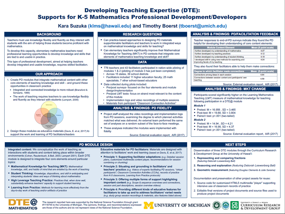 Developing Teaching Expertise in K-5 Mathematics | CADRE